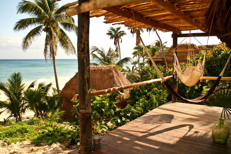 Hutjes aan zee in Mexico